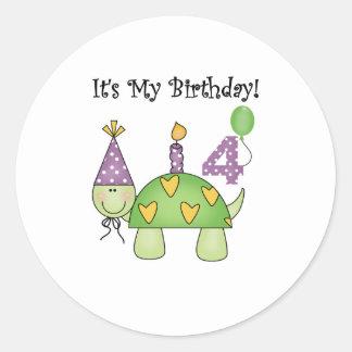 4to cumpleaños de la tortuga pegatinas redondas
