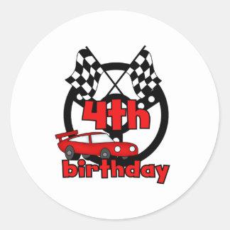 4to cumpleaños de las carreras de coches pegatina redonda