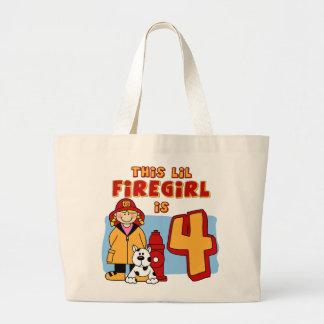 4to cumpleaños de Lil Firegirl Bolsa Tela Grande