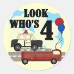 4to cumpleaños de los héroes diarios pegatinas redondas