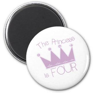 4to cumpleaños de princesa Crown Iman Para Frigorífico
