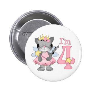 4to cumpleaños de princesa Kitty Pin Redondo De 2 Pulgadas