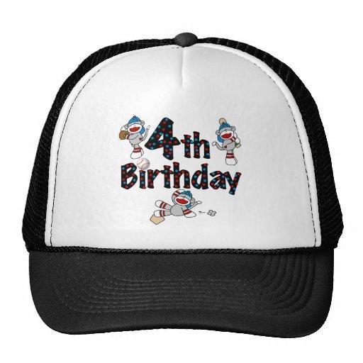 4to Cumpleaños del béisbol del mono del calcetín Gorro