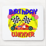 4to Cumpleaños del coche de carreras del cumpleaño Alfombrillas De Raton