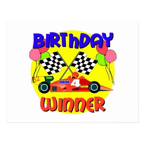 4to Cumpleaños del coche de carreras del cumpleaño Postales