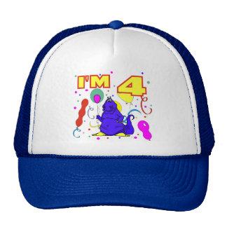 4to Cumpleaños del dinosaurio del cumpleaños Gorro De Camionero