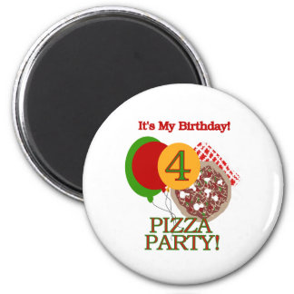 4to Cumpleaños del fiesta de la pizza Imán Redondo 5 Cm