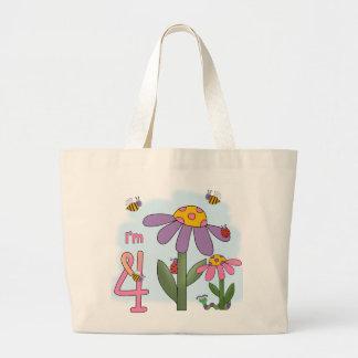 4to cumpleaños del jardín tonto bolsa tela grande
