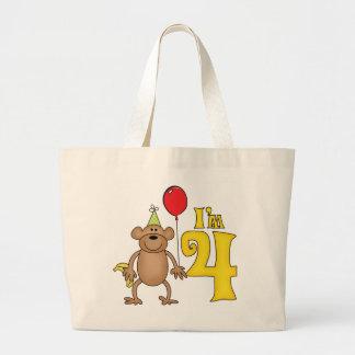 4to cumpleaños del mono divertido bolsa tela grande