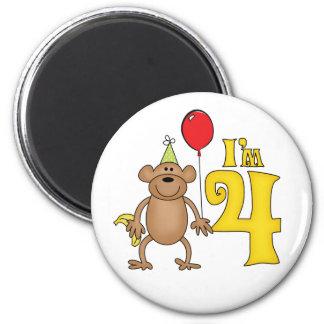 4to cumpleaños del mono divertido imán redondo 5 cm