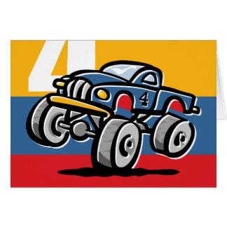 4to cumpleaños del monster truck tarjeta de felicitación