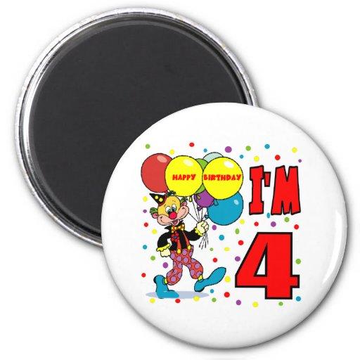 4to Cumpleaños del payaso del cumpleaños Imán Redondo 5 Cm