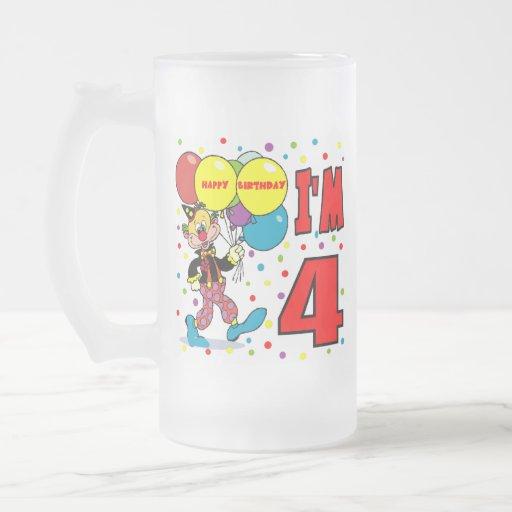 4to Cumpleaños del payaso del cumpleaños Taza De Cristal