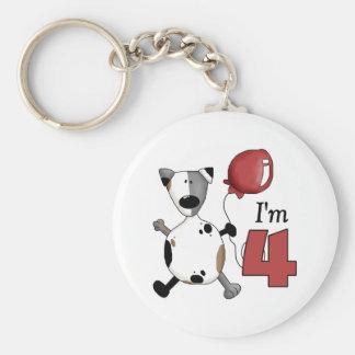 4to Cumpleaños del perrito del cumpleaños Llavero Redondo Tipo Pin