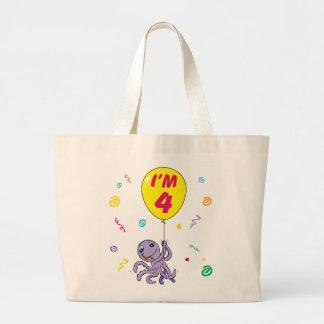 4to cumpleaños del pulpo bolsa tela grande