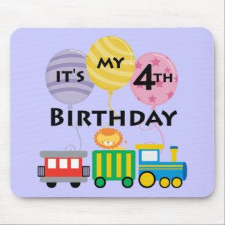 4to Cumpleaños del tren del cumpleaños Alfombrilla De Raton