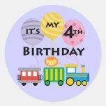 4to Cumpleaños del tren del cumpleaños Pegatina Redonda