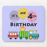 4to Cumpleaños del tren del cumpleaños Tapete De Ratón