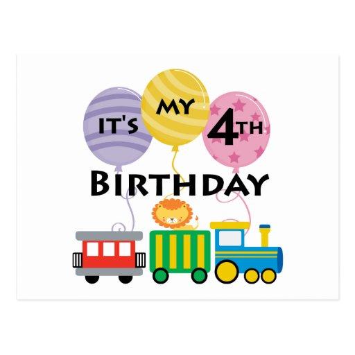 4to Cumpleaños del tren del cumpleaños Tarjeta Postal