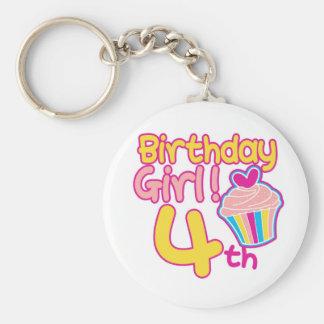 ¡4to cumpleaños feliz! llavero redondo tipo pin