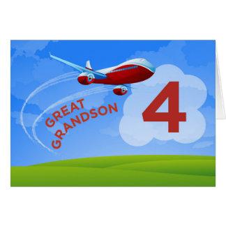 4to Cumpleaños, grande - nieto, aeroplano rojo Tarjeta De Felicitación
