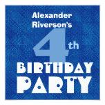4to cumpleaños W632 azul de los niños modernos Invitación 13,3 Cm X 13,3cm