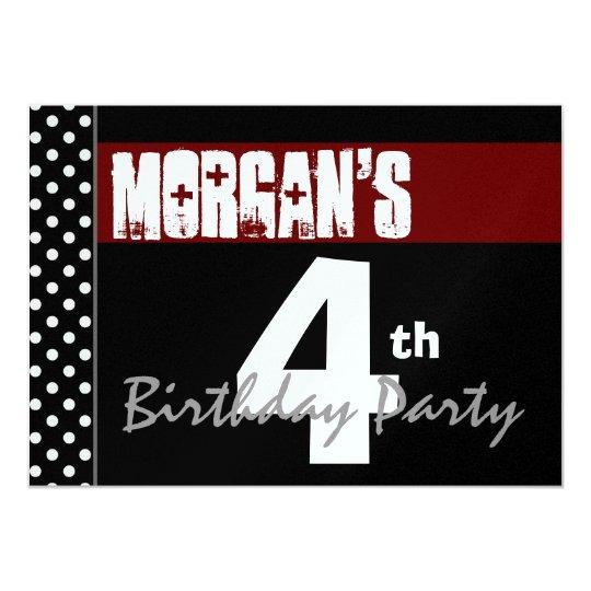 """4to Cumpleaños Y309 metálico negro blanco rojo Invitación 5"""" X 7"""""""