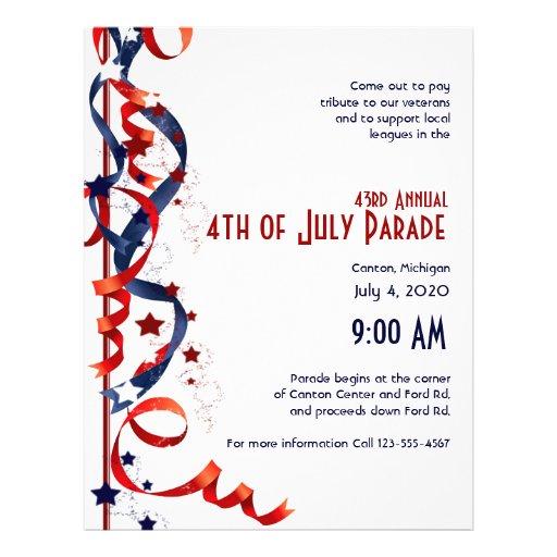 4to de cintas y de estrellas blancas de julio y az flyer personalizado