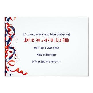 4to de cintas y de estrellas blancas de julio y invitaciones personalizada