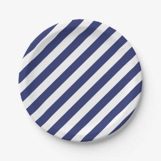 4to De julio las rayas blancas azules van de Platos De Papel