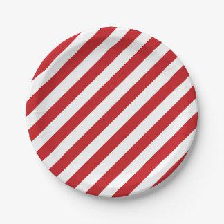 4to De julio las rayas blancas rojas van de fiesta Platos De Papel