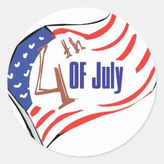 4to de la bandera americana de julio pegatinas redondas
