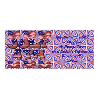 4to de la bandera de julio invitación 10,1 x 23,5 cm
