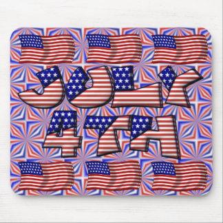 4to de la bandera de julio alfombrilla de ratón