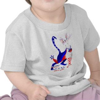 4to De la camisa americana del gatito de julio