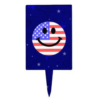 4to de la cara del smiley de la bandera americana  palillos de tarta
