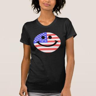 4to de la cara del smiley de la bandera americana playera