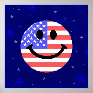 4to de la cara del smiley de la bandera americana  póster