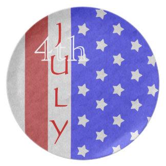 4to de la estrella de julio y de la placa del rojo plato de cena