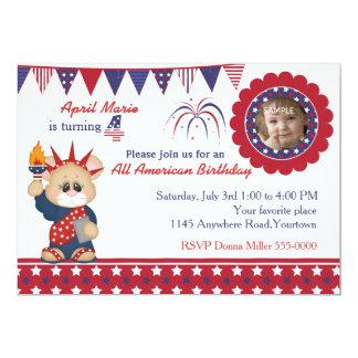 4to de la foto del cumpleaños del 4 de julio invitación 12,7 x 17,8 cm