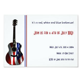 """4to de la guitarra patriótica de la bandera de invitación 3.5"""" x 5"""""""