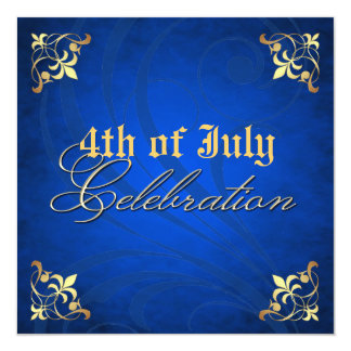 4to de la invitación azul del fiesta del oro de la