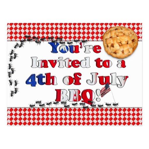 4to de la invitación de julio a un Bbq Postal