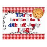 4to de la invitación de julio a un Bbq Postales