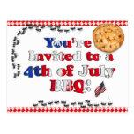 4to de la invitación de julio a un Bbq Tarjetas Postales