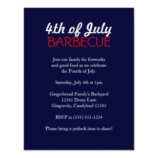 4to de la invitación de la barbacoa de julio