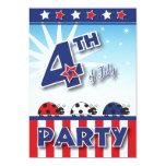 4to de la invitación del fiesta de julio invitación 12,7 x 17,8 cm
