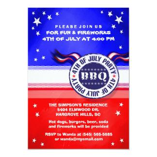 4to de la invitación del fiesta del Bbq de julio