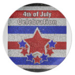 4to de la placa de la celebración de julio platos para fiestas