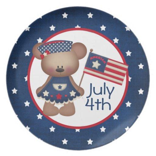 4to De la placa del oso de peluche de julio Platos Para Fiestas